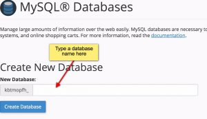 Create new database on cPanel