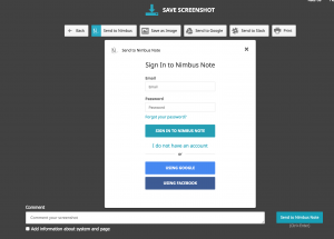 nimbus screenshot login form