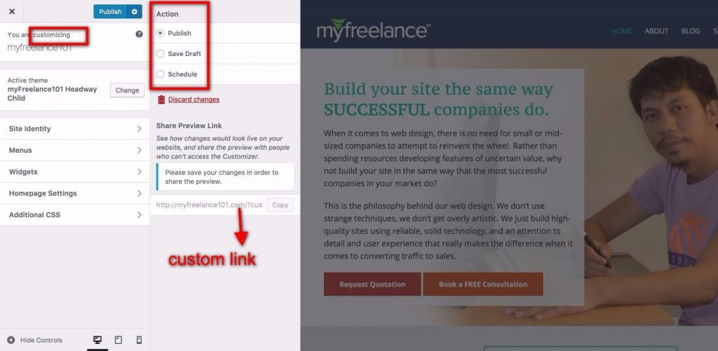 Wordpress 4.9 Tipton customizers