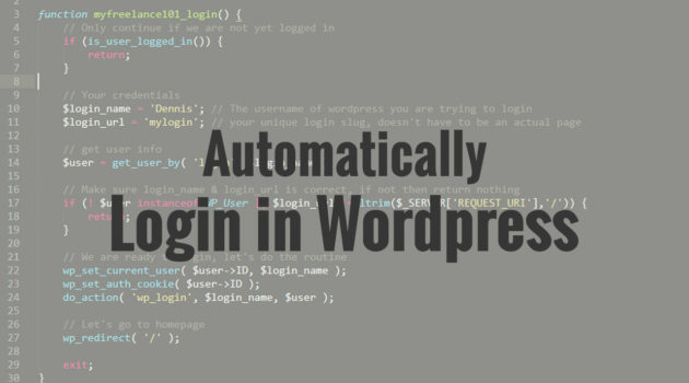 How to automatically login to WordPress when visiting a unique url.